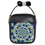 Power Spiral Polygon Blue Green White Girls Sling Bags Front