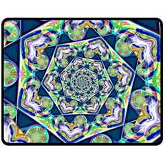 Power Spiral Polygon Blue Green White Fleece Blanket (medium)