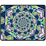 Power Spiral Polygon Blue Green White Fleece Blanket (Medium)  60 x50 Blanket Front