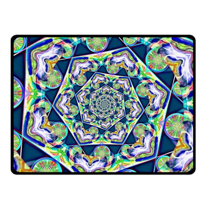 Power Spiral Polygon Blue Green White Fleece Blanket (Small)