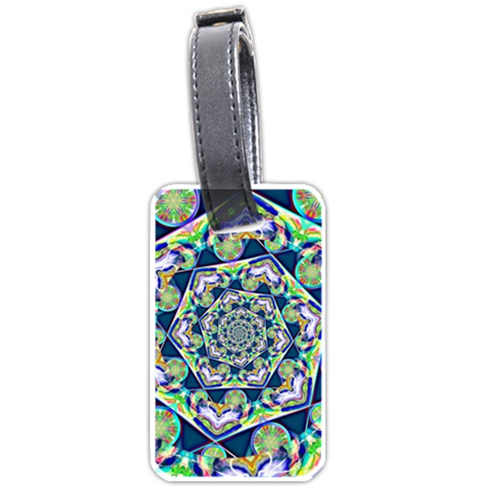 Power Spiral Polygon Blue Green White Luggage Tags (One Side)