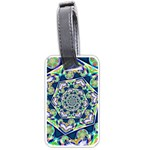 Power Spiral Polygon Blue Green White Luggage Tags (Two Sides) Back