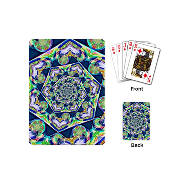 Power Spiral Polygon Blue Green White Playing Cards (Mini)