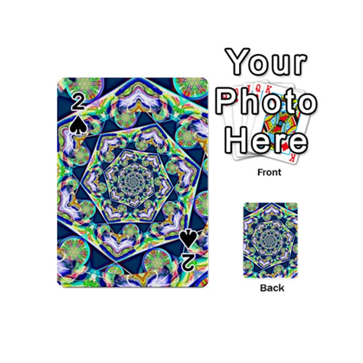 Power Spiral Polygon Blue Green White Playing Cards 54 (Mini)