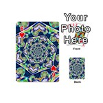 Power Spiral Polygon Blue Green White Playing Cards 54 (Mini)  Front - Heart6