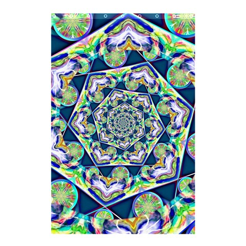 Power Spiral Polygon Blue Green White Shower Curtain 48  x 72  (Small)