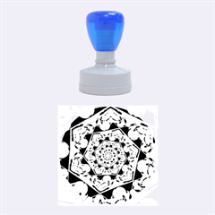 Power Spiral Polygon Blue Green White Rubber Round Stamps (medium)