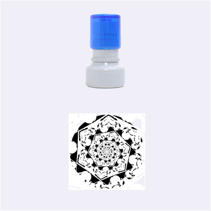 Power Spiral Polygon Blue Green White Rubber Round Stamps (Small)