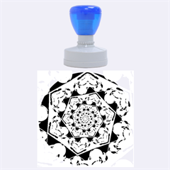 Power Spiral Polygon Blue Green White Rubber Round Stamps (Large)