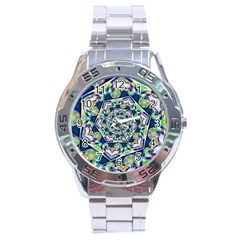 Power Spiral Polygon Blue Green White Stainless Steel Analogue Watch