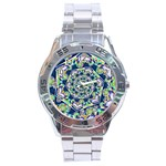 Power Spiral Polygon Blue Green White Stainless Steel Analogue Watch Front