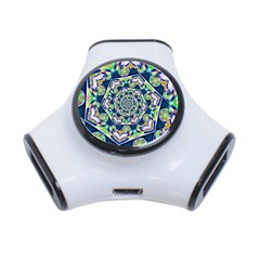Power Spiral Polygon Blue Green White 3 Port Usb Hub