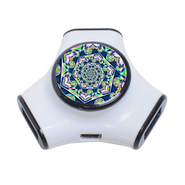 Power Spiral Polygon Blue Green White 3-Port USB Hub
