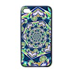 Power Spiral Polygon Blue Green White Apple iPhone 4 Case (Black) Front