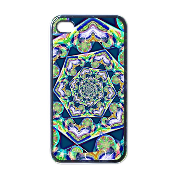 Power Spiral Polygon Blue Green White Apple iPhone 4 Case (Black)