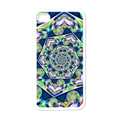 Power Spiral Polygon Blue Green White Apple iPhone 4 Case (White)