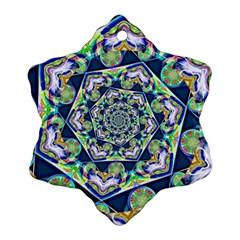 Power Spiral Polygon Blue Green White Ornament (Snowflake)