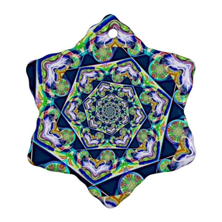 Power Spiral Polygon Blue Green White Ornament (Snowflake)