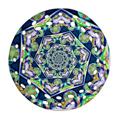Power Spiral Polygon Blue Green White Round Filigree Ornament (2side)
