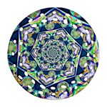 Power Spiral Polygon Blue Green White Round Filigree Ornament (2Side) Front