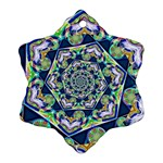 Power Spiral Polygon Blue Green White Snowflake Ornament (2-Side) Front