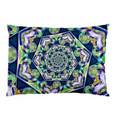 Power Spiral Polygon Blue Green White Pillow Case (two Sides)