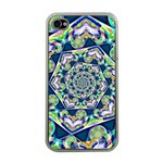 Power Spiral Polygon Blue Green White Apple iPhone 4 Case (Clear) Front