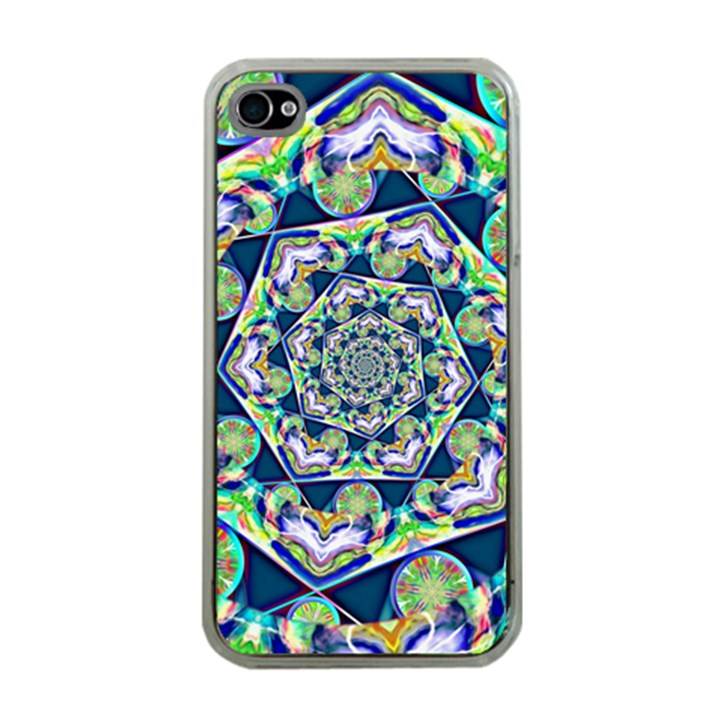 Power Spiral Polygon Blue Green White Apple iPhone 4 Case (Clear)