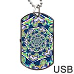 Power Spiral Polygon Blue Green White Dog Tag USB Flash (One Side) Front
