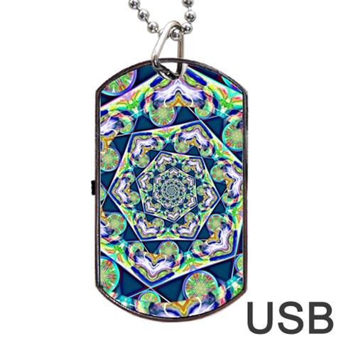 Power Spiral Polygon Blue Green White Dog Tag USB Flash (Two Sides)