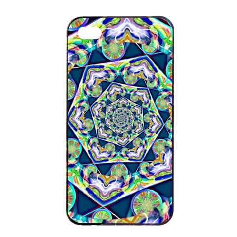 Power Spiral Polygon Blue Green White Apple iPhone 4/4s Seamless Case (Black)