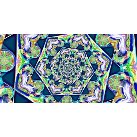 Power Spiral Polygon Blue Green White YOU ARE INVITED 3D Greeting Card (8x4)