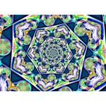 Power Spiral Polygon Blue Green White Heart Bottom 3D Greeting Card (7x5) Front