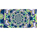 Power Spiral Polygon Blue Green White Congrats Graduate 3D Greeting Card (8x4) Back