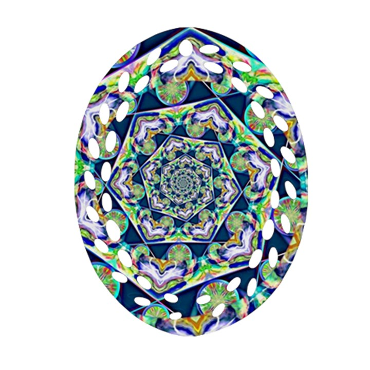 Power Spiral Polygon Blue Green White Ornament (Oval Filigree)