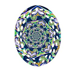 Power Spiral Polygon Blue Green White Oval Filigree Ornament (2-Side)