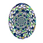 Power Spiral Polygon Blue Green White Oval Filigree Ornament (2-Side)  Front