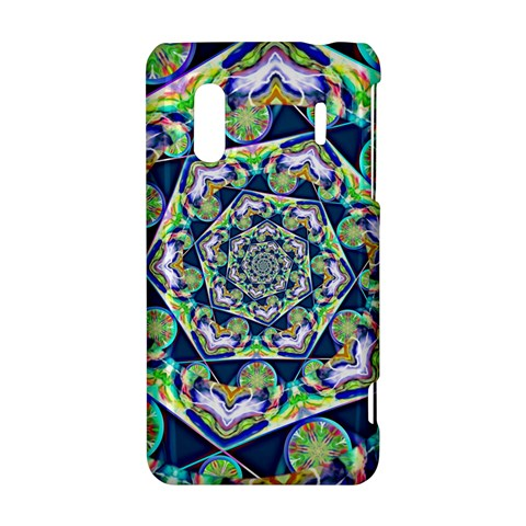 Power Spiral Polygon Blue Green White HTC Evo Design 4G/ Hero S Hardshell Case