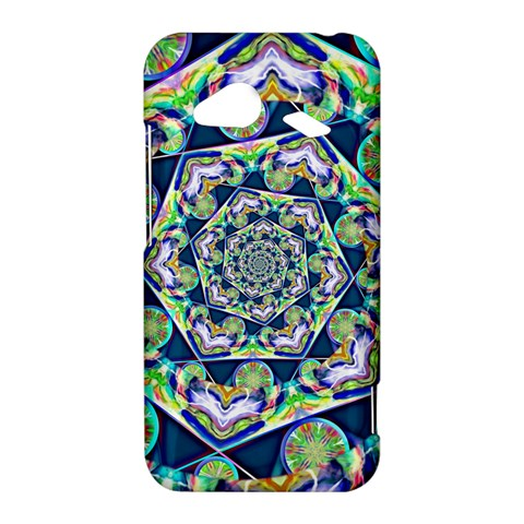 Power Spiral Polygon Blue Green White HTC Droid Incredible 4G LTE Hardshell Case