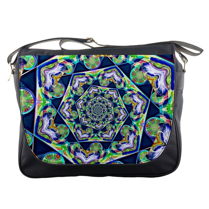 Power Spiral Polygon Blue Green White Messenger Bags