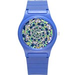 Power Spiral Polygon Blue Green White Round Plastic Sport Watch (S) Front