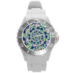 Power Spiral Polygon Blue Green White Round Plastic Sport Watch (L) Front
