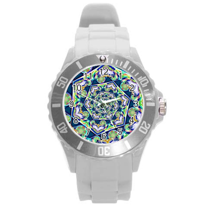 Power Spiral Polygon Blue Green White Round Plastic Sport Watch (L)