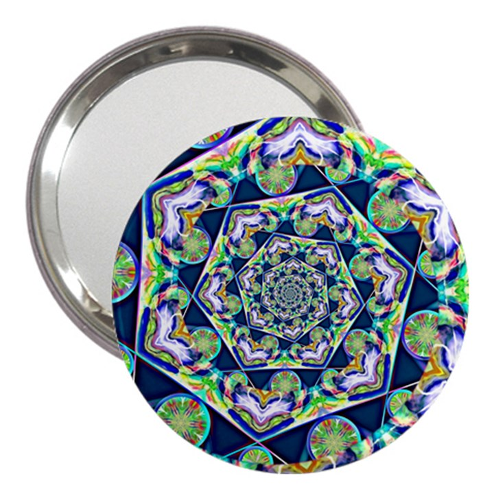 Power Spiral Polygon Blue Green White 3  Handbag Mirrors