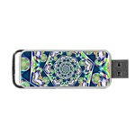 Power Spiral Polygon Blue Green White Portable USB Flash (Two Sides) Back