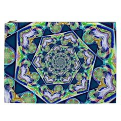 Power Spiral Polygon Blue Green White Cosmetic Bag (XXL)