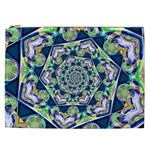 Power Spiral Polygon Blue Green White Cosmetic Bag (XXL)  Front
