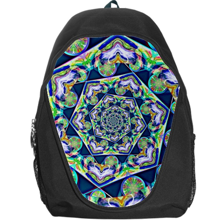 Power Spiral Polygon Blue Green White Backpack Bag