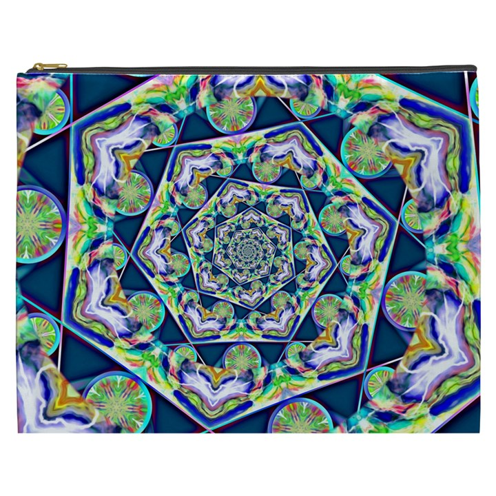Power Spiral Polygon Blue Green White Cosmetic Bag (XXXL)