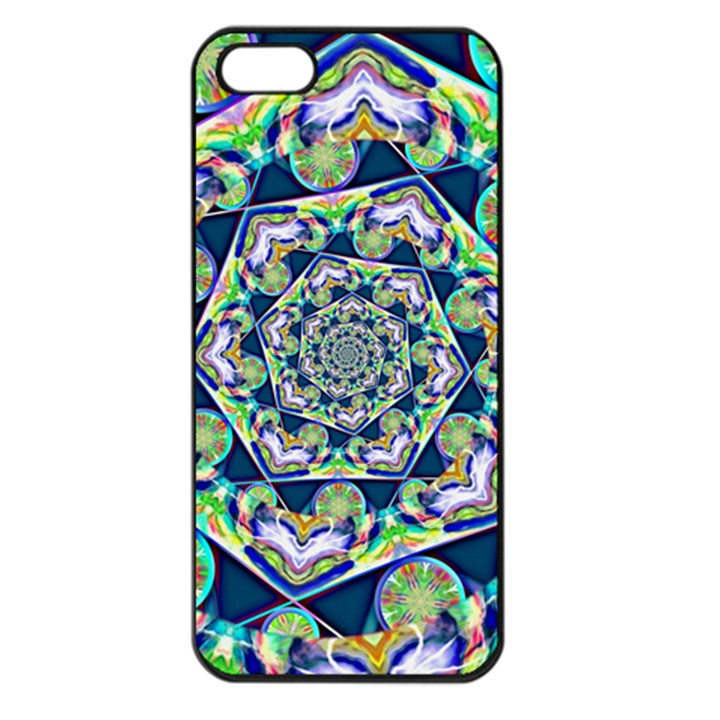 Power Spiral Polygon Blue Green White Apple iPhone 5 Seamless Case (Black)